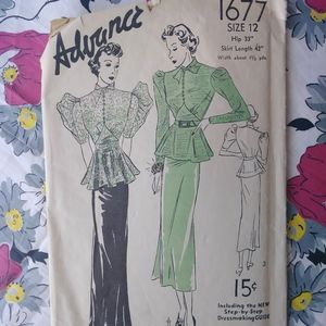 VTG 1930s Pussy Bow Dress Pattern Advance 1677 B32
